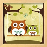 Two Owls on Swing Art by Nancy Lee
