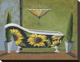 Tuscan Tub Sunflowers I Stretched Canvas Print by Cathy Hartgraves