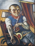 Self-Portrait Dressed as a Clown Stretched Canvas Print by Max Beckmann