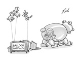 An unattended table has a sign that says balloon animals, and a balloon be… - New Yorker Cartoon Premium Giclee Print by Tom Toro