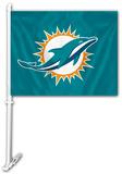 NFL Miami Dolphins Car Flag with Wall Brackett Flag