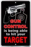 Gun Contro Embossed Tin Sign Tin Sign