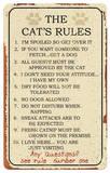 Cat Rules Tin Sign - Metal Tabela