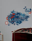 Superman Man of Steel Distressed Flag Peel and Stick Giant Wall Decals Wall Decal