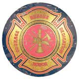 Firemen Maltese Cross Domed Sign Tin Sign