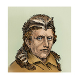 Portrait of Daniel Boone Wearing a Coonskin Cap Giclee Print