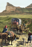 Covered Wagon of a Homesteader Family Heading West with their Belongings Photographic Print
