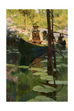 Woodsmen in Canoes Floating on a Tranquil River, circa 1900 Giclée-Druck
