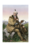 Daniel Boone, Pioneer of Kentucky, with His Rifle and Dog Giclee Print