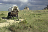 Restored Conestoga Wagon at Scotts Bluff National Monument on the Oregon Trail in Nebraska Photographic Print