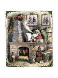 Santa Claus Opening a Stack of Letters, 1880s Giclee Print