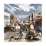 Busy Downtown Denver, Colorado, Late 1870s Giclee Print