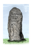Ogham Inscription on a Stone at Newton, Aberdeenshire, Scotland Giclee Print