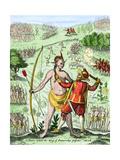 Captain John Smith Taking the King of Pamaunkee Prisoner, 1608 Giclee Print