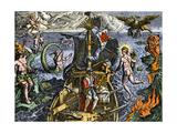 Magellan Passing Through His Strait Sail around South America Circumnavigation of Earth, 1519-1522 Giclee Print