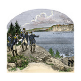 General George Washington Overlooking the Hudson River at Washington Heights, American Revolution Giclee Print
