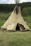 Tipi Made of Buffalo Hide Sewn with Sinew in Traditional Way, Lakota Encampment, Black Hills, SD Photographic Print