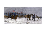 General Custer's Cavalry Marching to Attack a Cheyenne Village on the Great Plains, 1868 Giclee Print