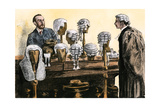 Lawyer Selecting the Proper Wig for Appearance in Court, London, 1800s Giclee Print