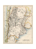 Map of Agentina, Uruguay, and Paraguay in the 1870s Giclee Print