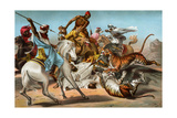 Tigers Attacking an Arab Caravan in the Desert Giclee Print