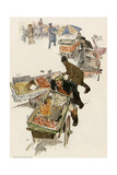 New York City Peddlers Chased Away by a Policeman, circa 1900 Giclee Print