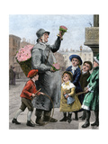 Flower-Seller Surrounded by Children on a London Street-Corner, 1880s Giclee Print