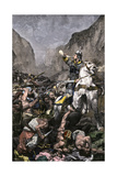 Roland Blowing His Warhorn in Battle Against the Saracens at Roncesvalle, 789 AD Giclee Print