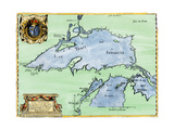 French Jesuit Map of Lake Superior, Upper Michigan, and Wisconsin, 1600s Giclee Print