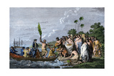 James Cook Landing in the Friendly Islands, Greeted by Tonga Natives Bearing Fruit, 1770s Giclee Print