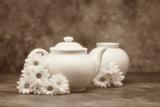 Teapot and Daisies I Fotografie-Druck von C. McNemar