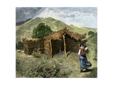 Native American Woman Approaching Hut Where Mass Is Celebrated Near Pachuca, Mexico, 1800s Giclee Print
