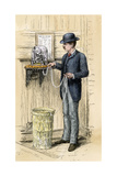 Broker Reading the Stock Ticker at the New York Stock Exchange, 1880s Giclee Print