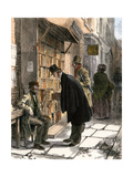 Browsers at a Sidewalk Bookstall, 1800s Giclee Print