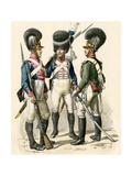 French Army Uniforms: Infantry 1814-1825, Grenadier 1812-1815, and Cavalry 1805-1812 Giclee Print