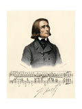 Portrait of Young Franz Liszt, with a Scrap of Manuscript and His Autograph Giclee Print