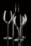 Wine Bottle and Glasses Photographic Print by C. McNemar