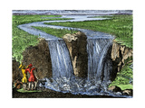 French Explorer La Salle at Niagara Falls, 1669 Giclee Print