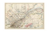 Map of Quebec Province, Canada, 1870s Giclee Print