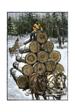 Hauling Logs with a Horse-Drawn Sledge in Northern Wisconsin, 1880s Giclee Print