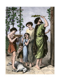 Jewish Family Marking their Home with Lamb's Blood for the First Passover Giclee Print