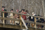 Minutemen Reenactors Crossing Concord Bridge to Harrass the Retreating British, Concord, MA Photographic Print