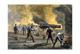 Big Guns of Fort Sumter Returning Fire from Fort Moultrie at the Start of the Civil War, 1861 Giclee Print