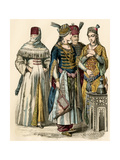 Turkish Woman in Public (Left), Sultan and His Wife (Center), and a Dancer, 1700s Giclee Print