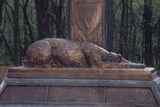 Irish Wolfhound on the Monument to NY's Irish Brigade, Little Round Top, Gettysburg Battlefield Photographic Print