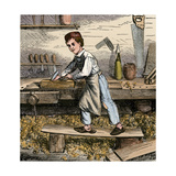 Young Carpenter's Apprentice Planing a Block of Wood, 1800s Giclee Print