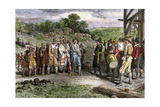 Wampanoag Leader Massasoit Visiting Colonists at Plymouth, 1620s Giclee Print
