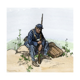Weary Infantryman Resting by the Wayside, US Civil War Giclee Print
