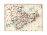 Map of Nova Scotia, Prince Edward Island, and New Brunswick, 1870s Giclee Print
