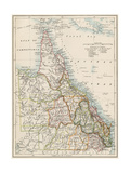Map of Queensland, Australia, 1870s Giclee Print